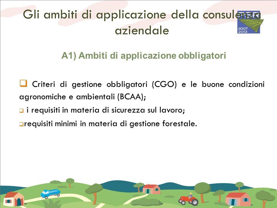 A1) Ambiti di applicazione obbligatori