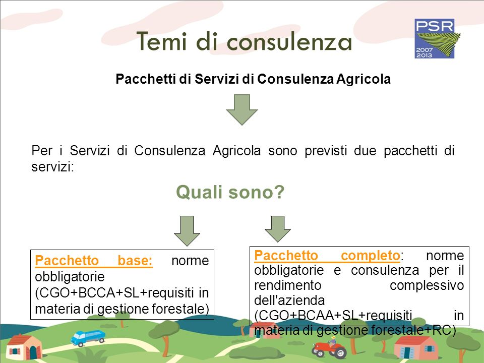 Pacchetti di Servizi di Consulenza Agricola