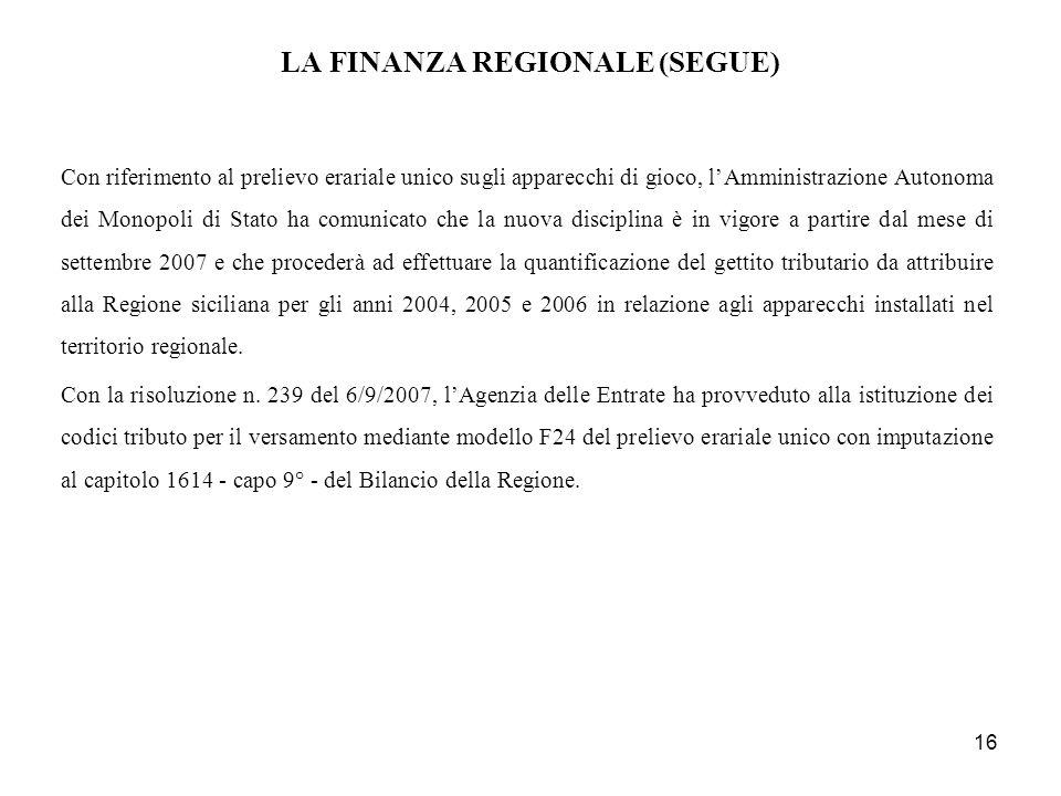 LA FINANZA REGIONALE (SEGUE)