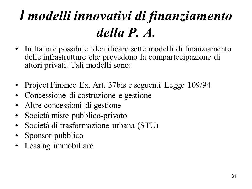 I modelli innovativi di finanziamento della P. A.