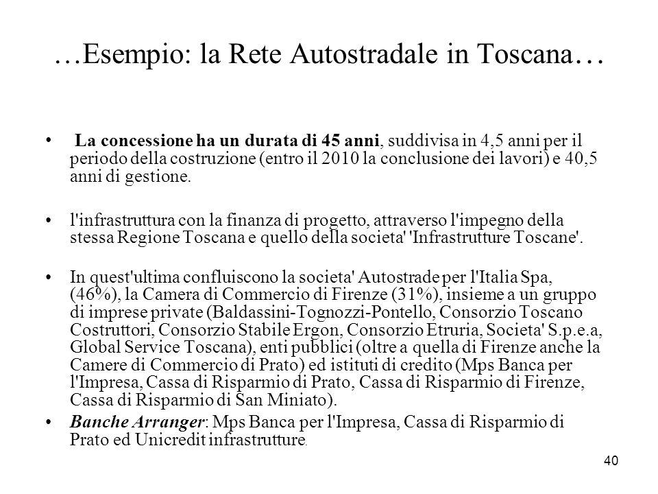 …Esempio: la Rete Autostradale in Toscana…