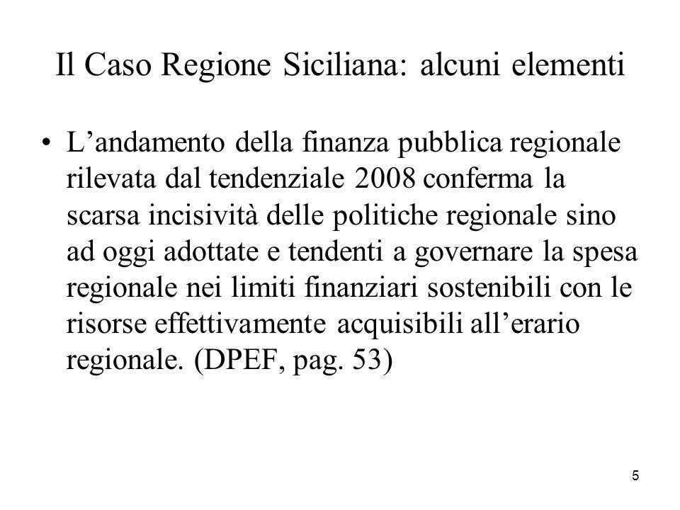 Il Caso Regione Siciliana: alcuni elementi