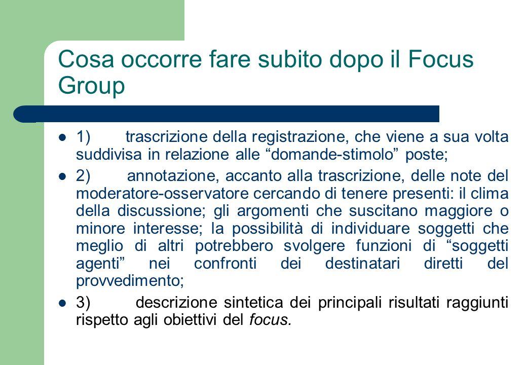 Cosa occorre fare subito dopo il Focus Group