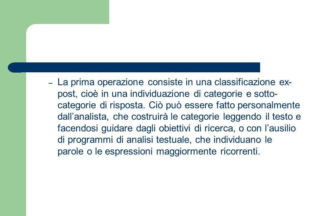 La prima operazione consiste in una classificazione ex-post, cioè in una individuazione di categorie e sotto-categorie di risposta.