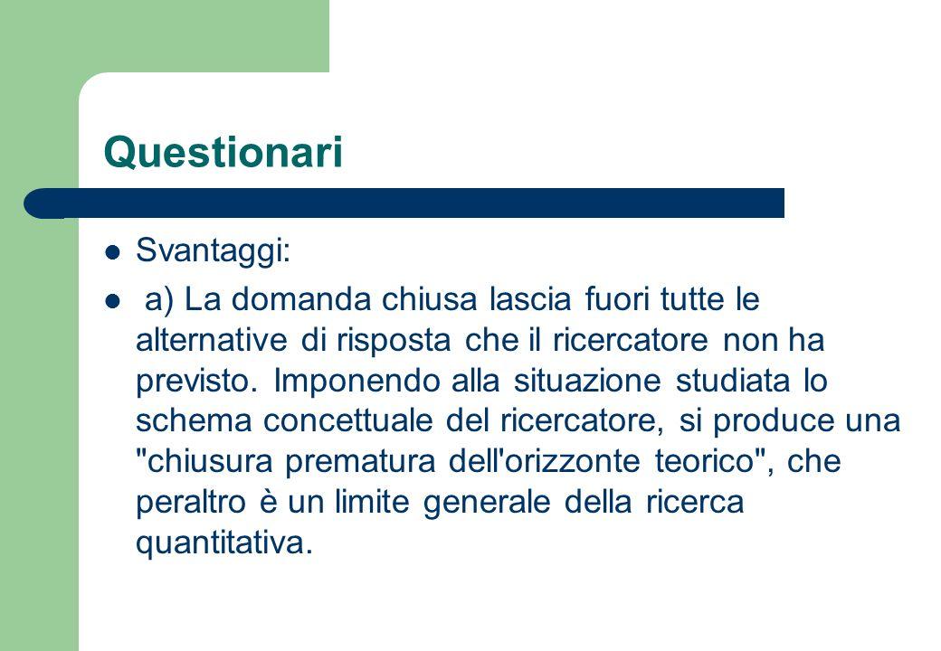 Questionari Svantaggi: