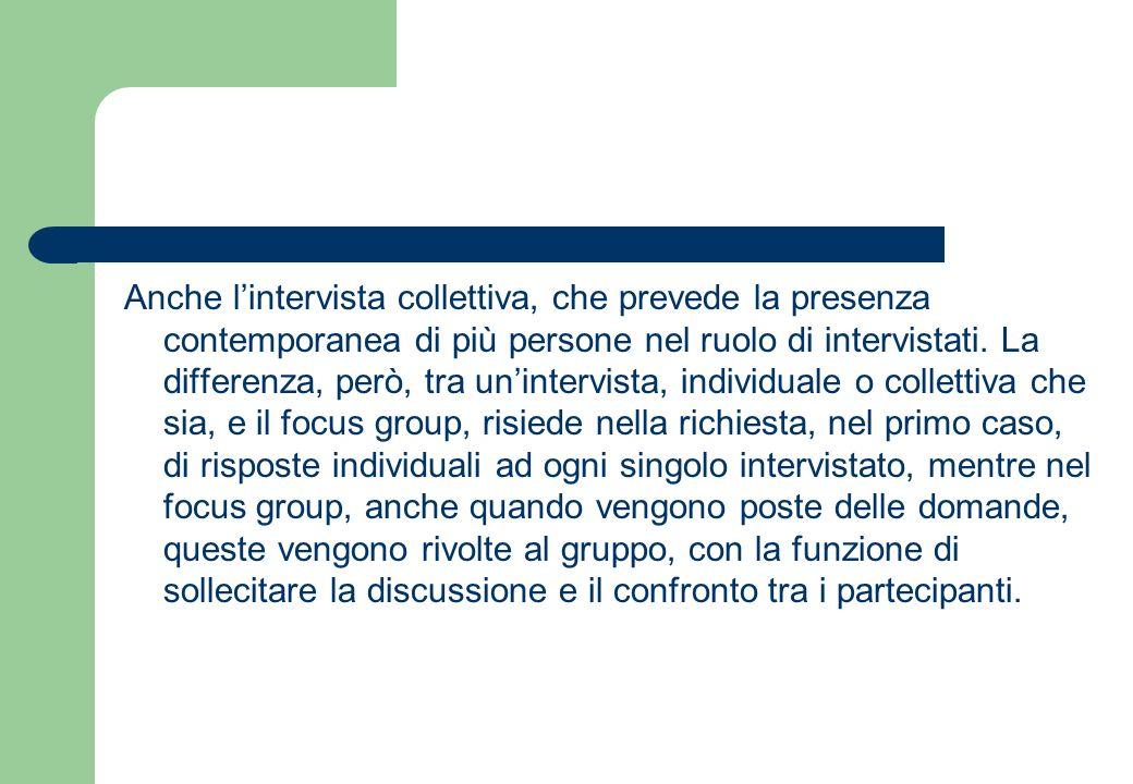 Anche l'intervista collettiva, che prevede la presenza contemporanea di più persone nel ruolo di intervistati.