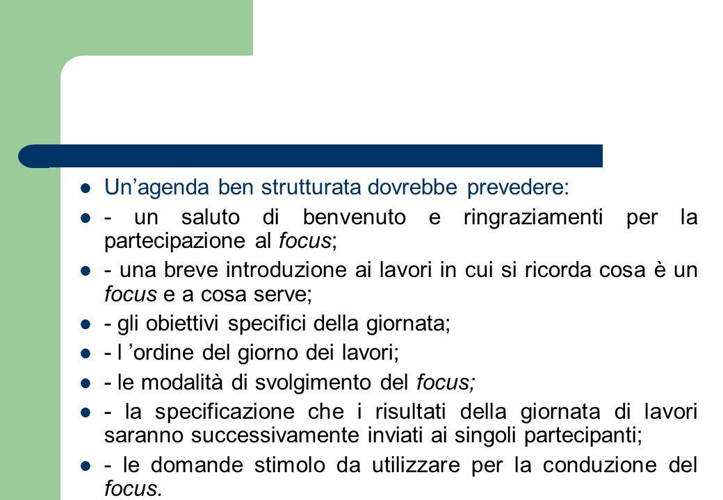 Un'agenda ben strutturata dovrebbe prevedere: