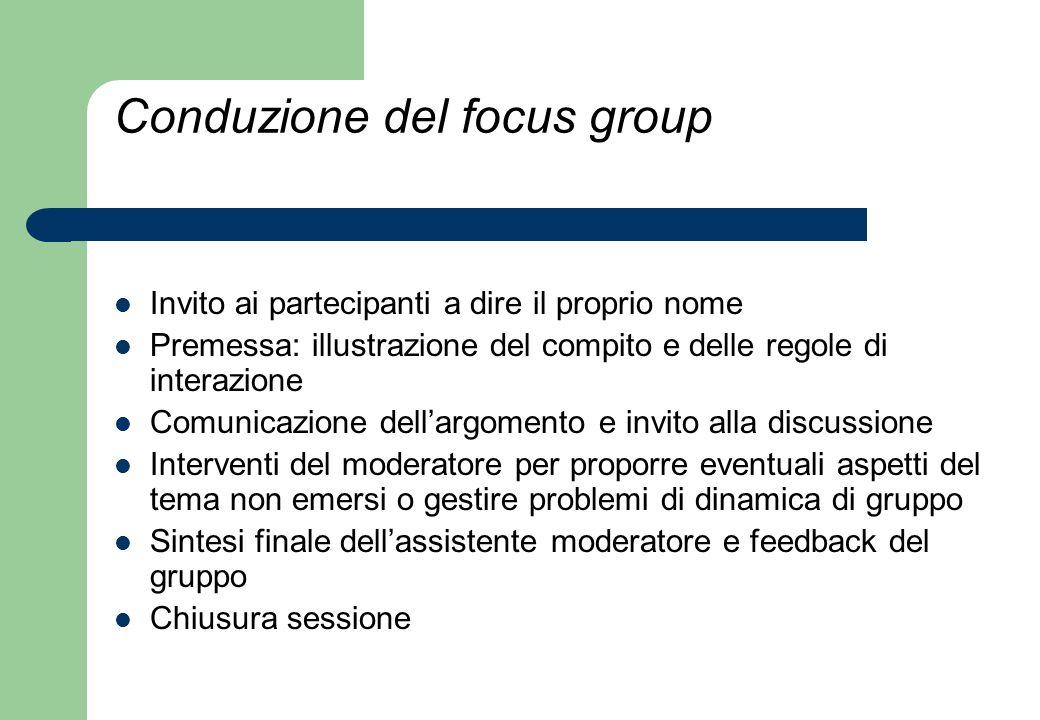 Conduzione del focus group