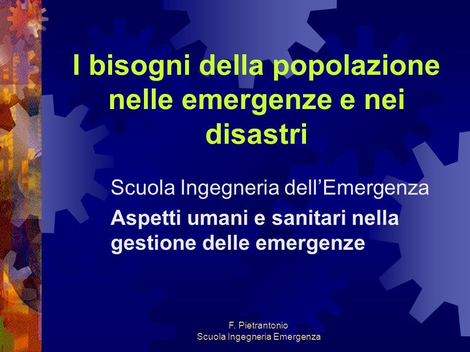 I bisogni della popolazione nelle emergenze e nei disastri
