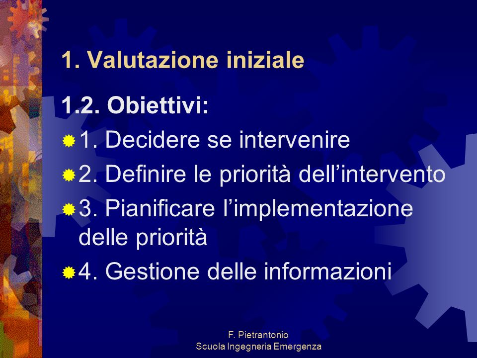 F. Pietrantonio Scuola Ingegneria Emergenza