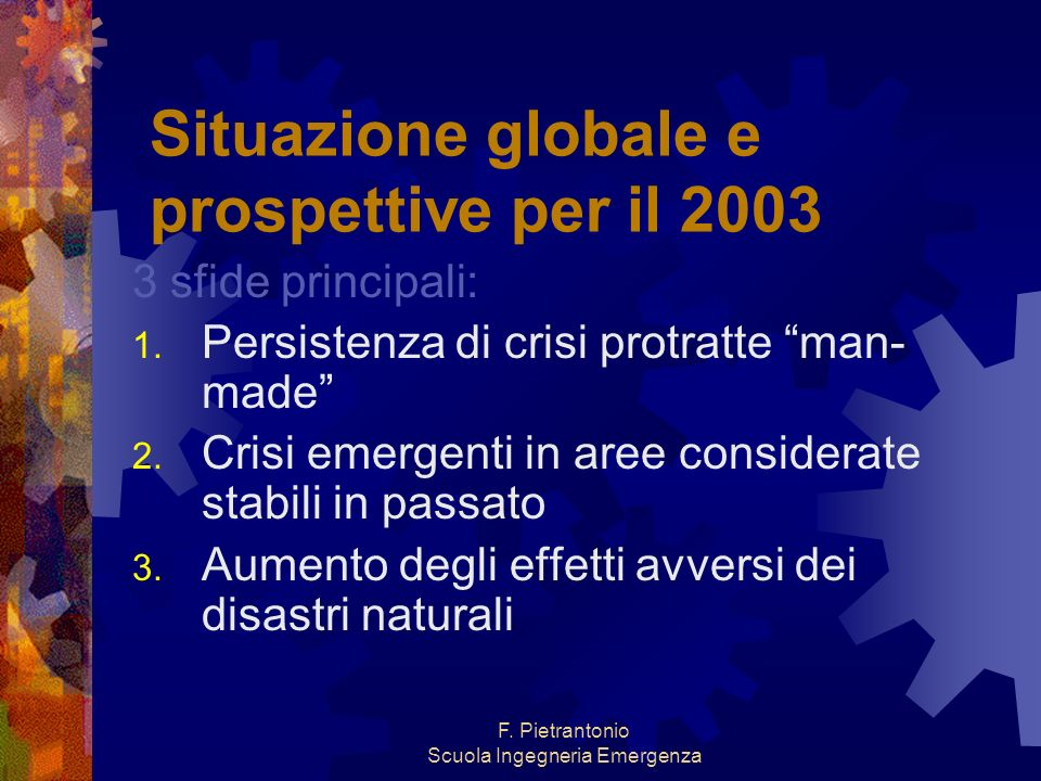 Situazione globale e prospettive per il 2003