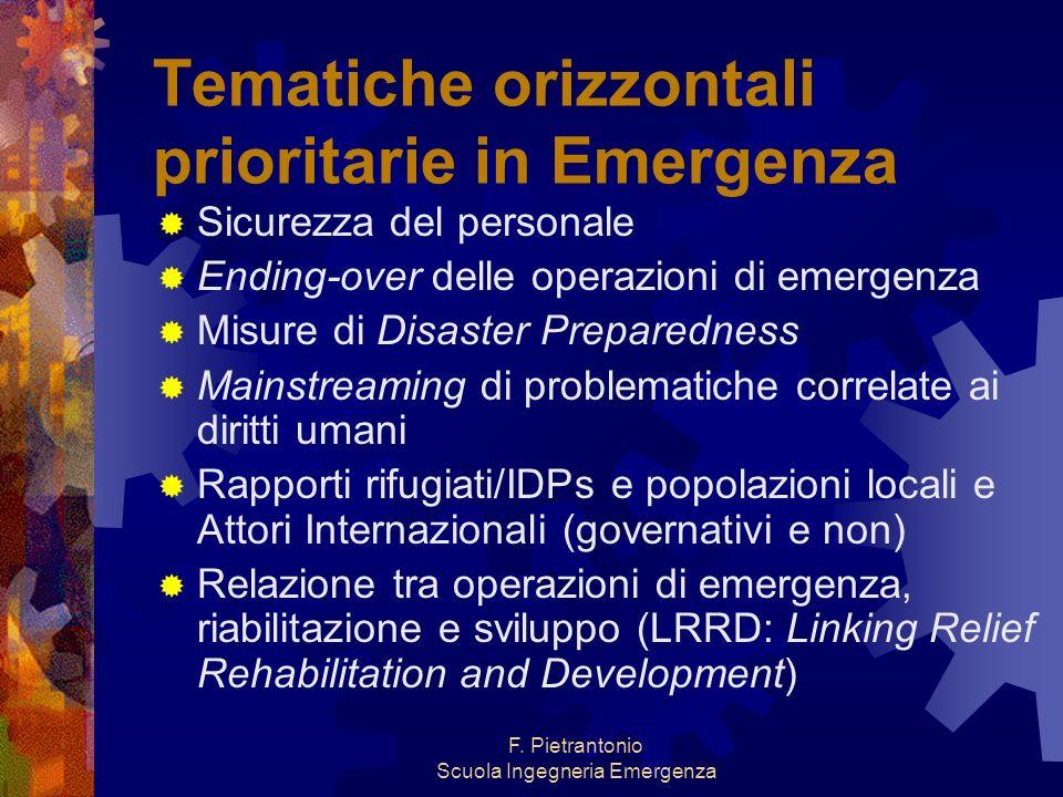 Tematiche orizzontali prioritarie in Emergenza