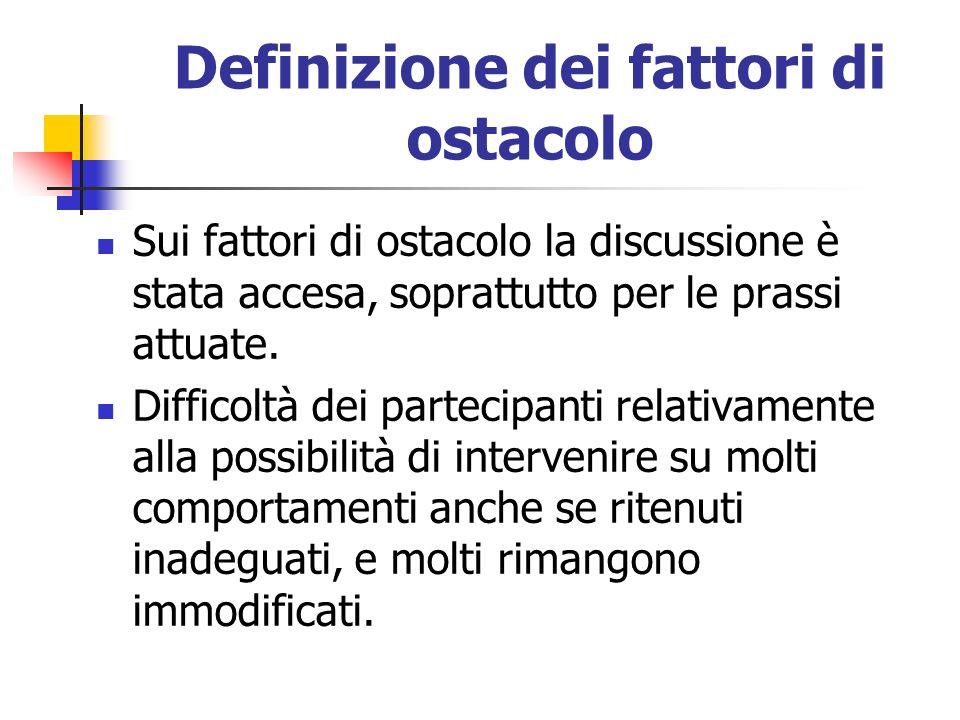 Definizione dei fattori di ostacolo
