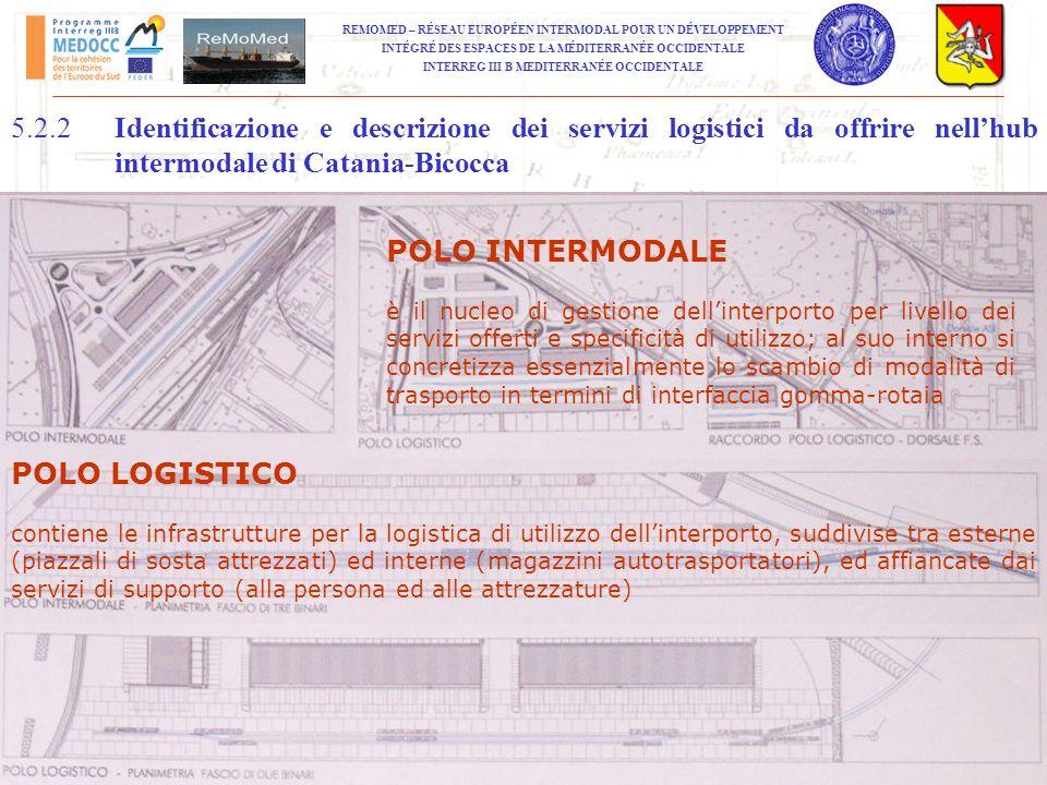 5.2.2 Identificazione e descrizione dei servizi logistici da offrire nell'hub intermodale di Catania‑Bicocca