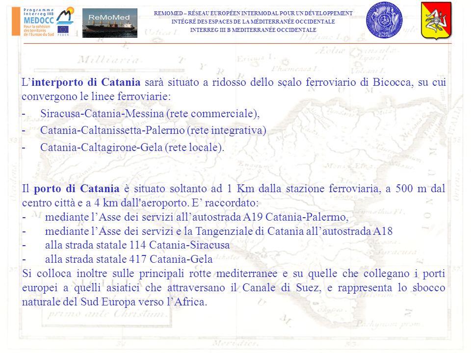 L'interporto di Catania sarà situato a ridosso dello scalo ferroviario di Bicocca, su cui convergono le linee ferroviarie: