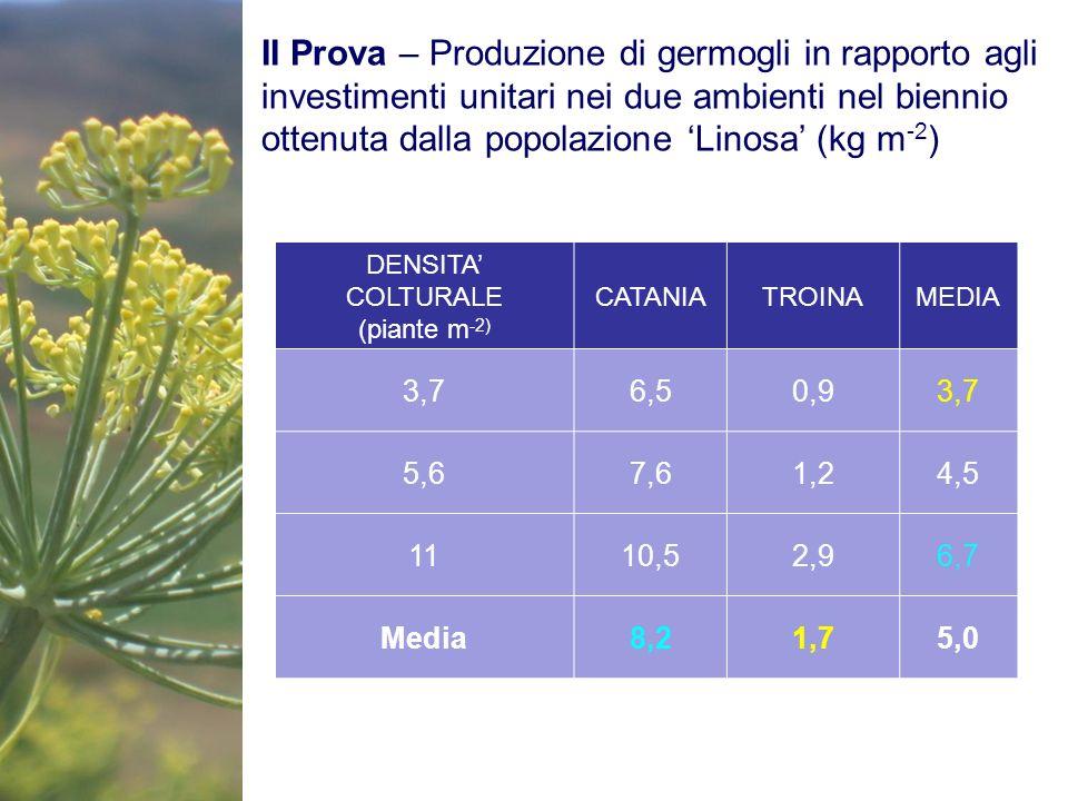 II Prova – Produzione di germogli in rapporto agli investimenti unitari nei due ambienti nel biennio ottenuta dalla popolazione 'Linosa' (kg m-2)