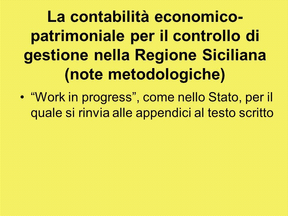 La contabilità economico-patrimoniale per il controllo di gestione nella Regione Siciliana (note metodologiche)