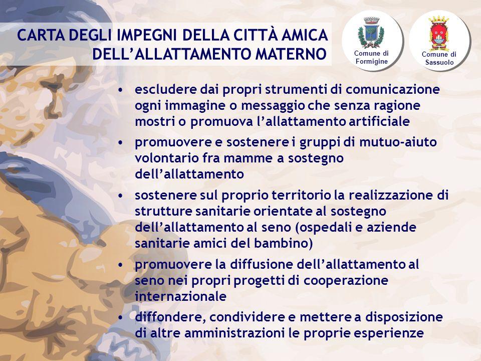 CARTA DEGLI IMPEGNI DELLA CITTÀ AMICA DELL'ALLATTAMENTO MATERNO