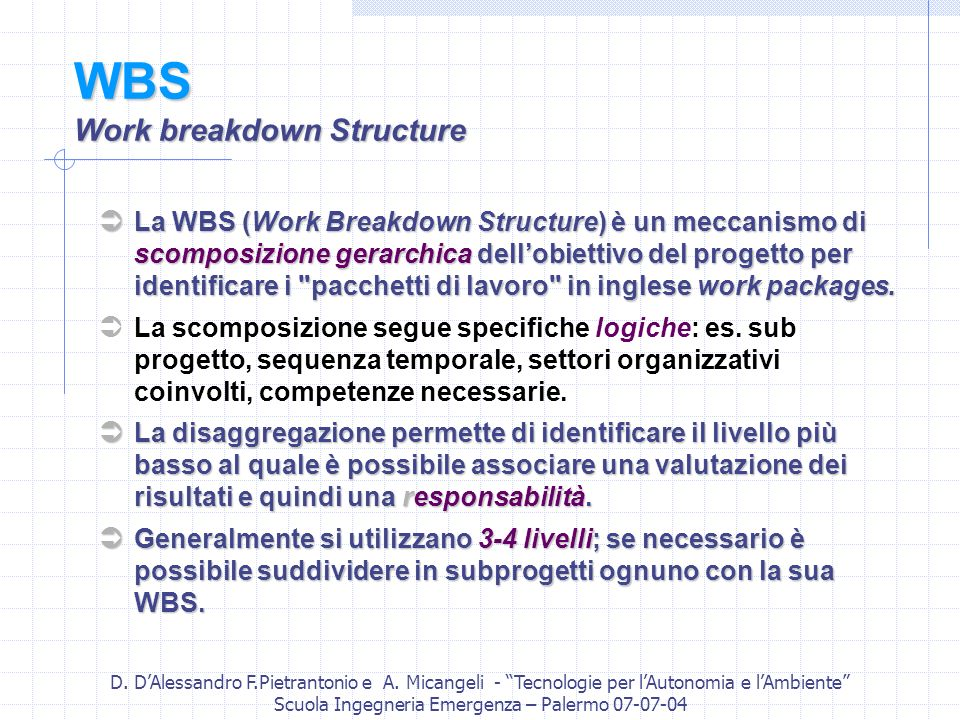 WBS Work breakdown Structure