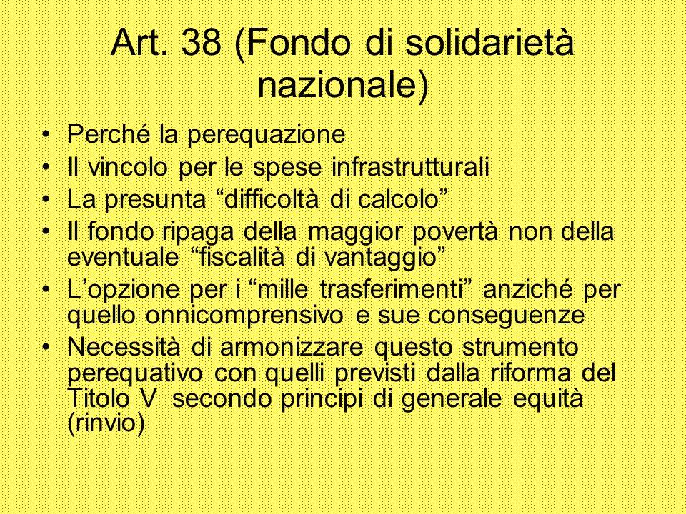 Art. 38 (Fondo di solidarietà nazionale)