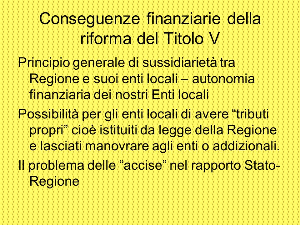 Conseguenze finanziarie della riforma del Titolo V
