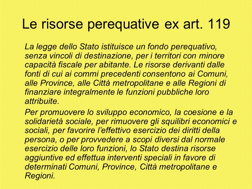 Le risorse perequative ex art. 119