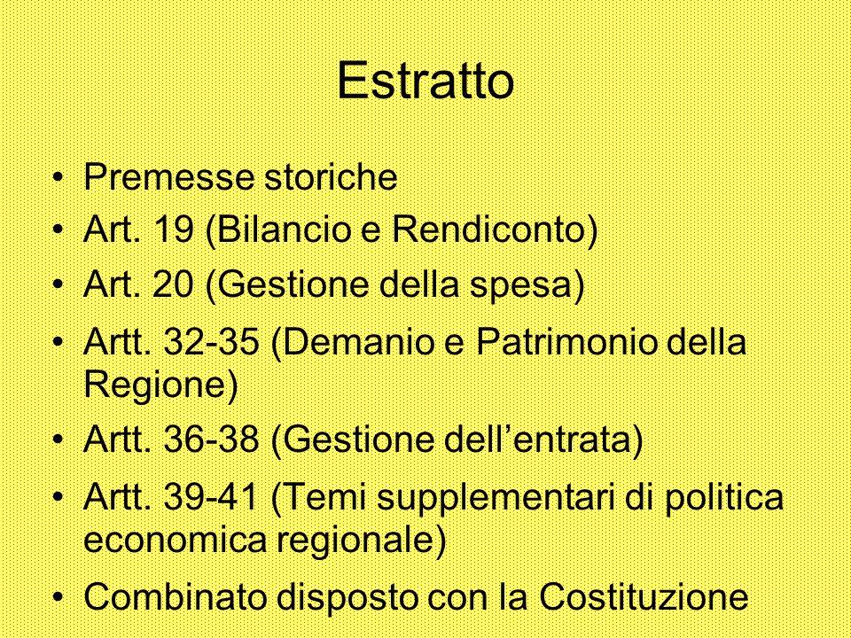 Estratto Premesse storiche Art. 19 (Bilancio e Rendiconto)