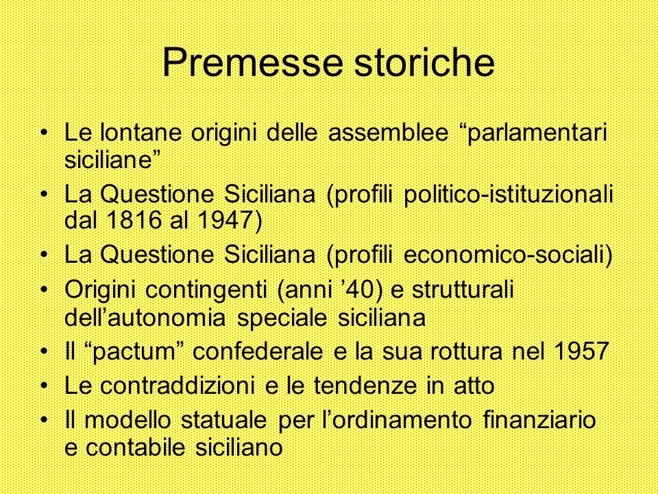 Premesse storiche Le lontane origini delle assemblee parlamentari siciliane