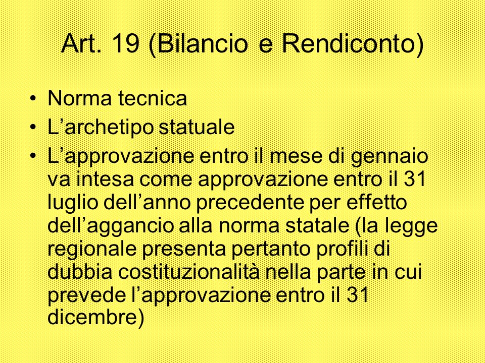 Art. 19 (Bilancio e Rendiconto)‏