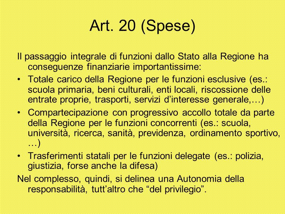 Art. 20 (Spese) Il passaggio integrale di funzioni dallo Stato alla Regione ha conseguenze finanziarie importantissime:
