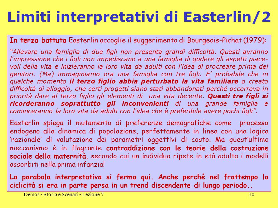 Limiti interpretativi di Easterlin/2