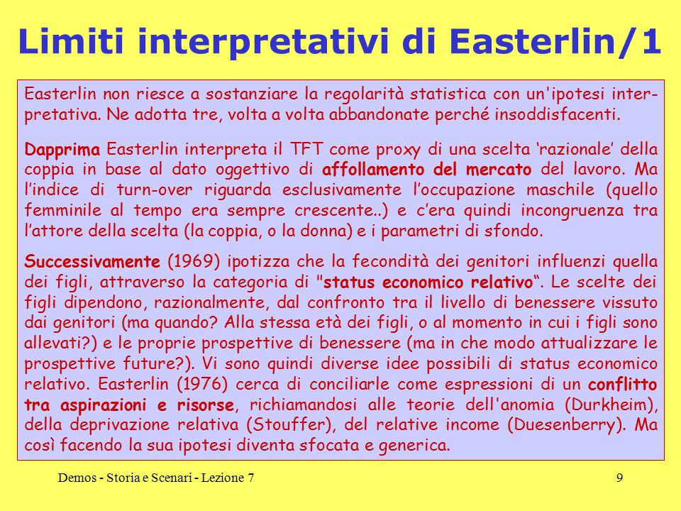 Limiti interpretativi di Easterlin/1