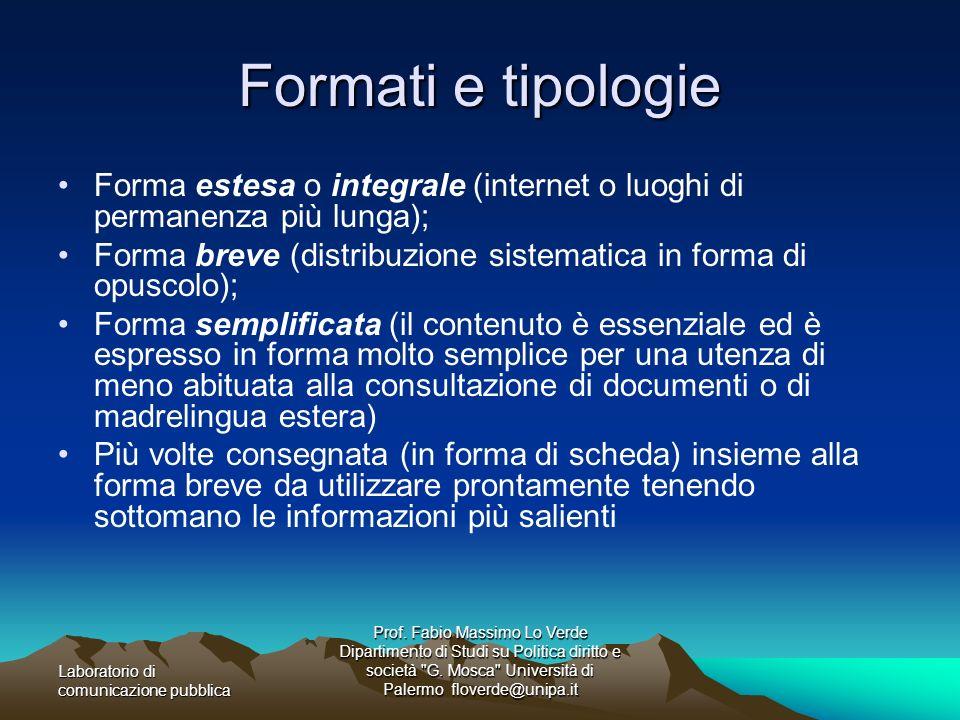Formati e tipologie Forma estesa o integrale (internet o luoghi di permanenza più lunga);
