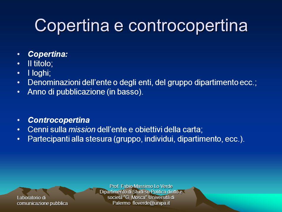 Copertina e controcopertina