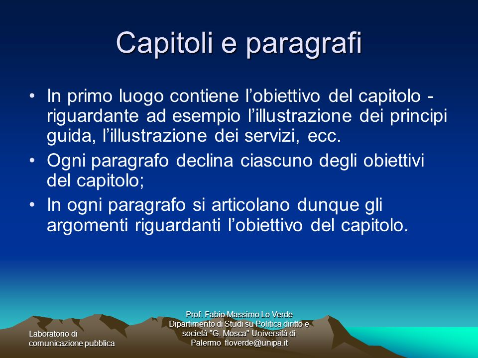 Capitoli e paragrafi