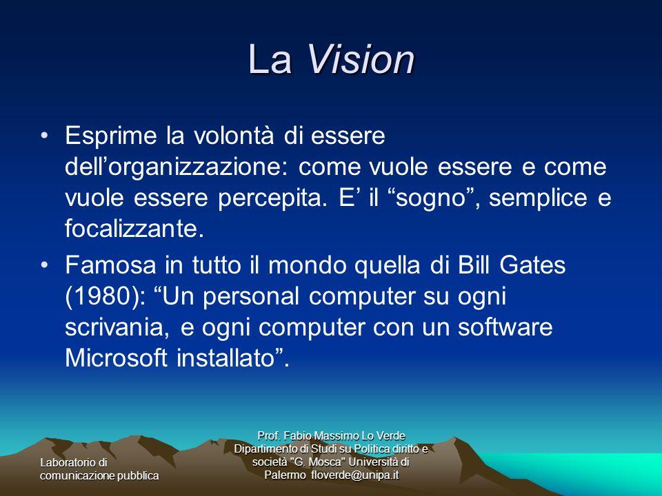 La VisionEsprime la volontà di essere dell'organizzazione: come vuole essere e come vuole essere percepita. E' il sogno , semplice e focalizzante.