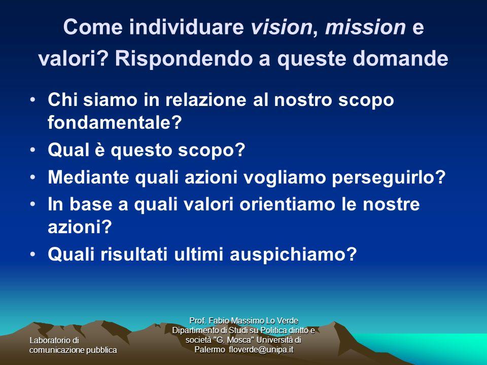 Come individuare vision, mission e valori Rispondendo a queste domande