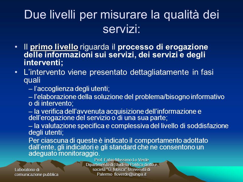 Due livelli per misurare la qualità dei servizi: