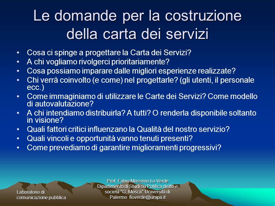 Le domande per la costruzione della carta dei servizi