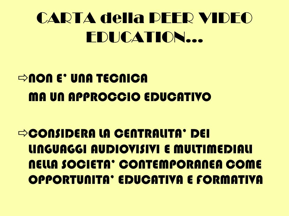 CARTA della PEER VIDEO EDUCATION...