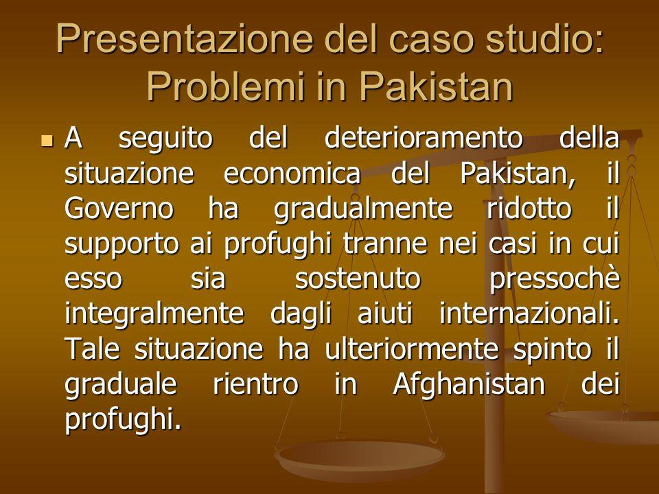 Presentazione del caso studio: Problemi in Pakistan