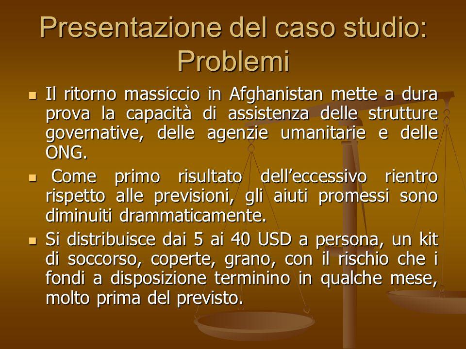 Presentazione del caso studio: Problemi