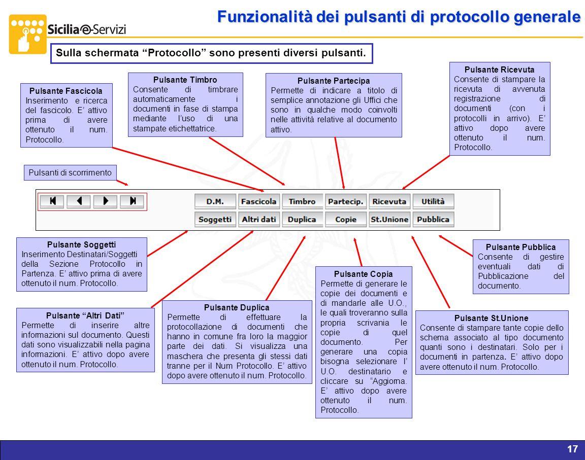 Funzionalità dei pulsanti di protocollo generale
