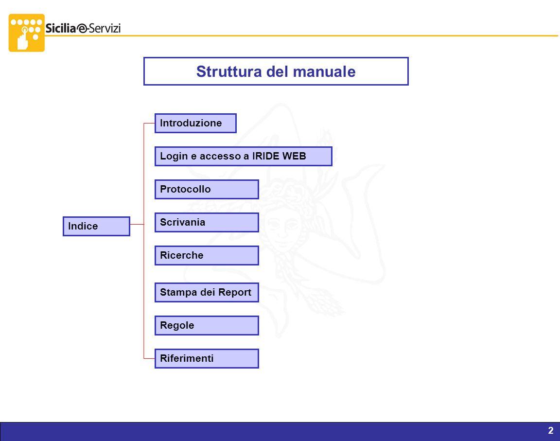 Struttura del manuale Introduzione Login e accesso a IRIDE WEB