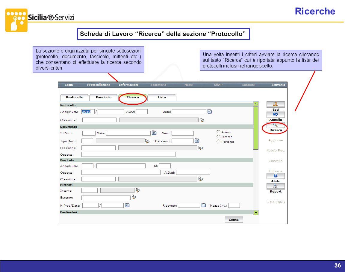 Ricerche Scheda di Lavoro Ricerca della sezione Protocollo