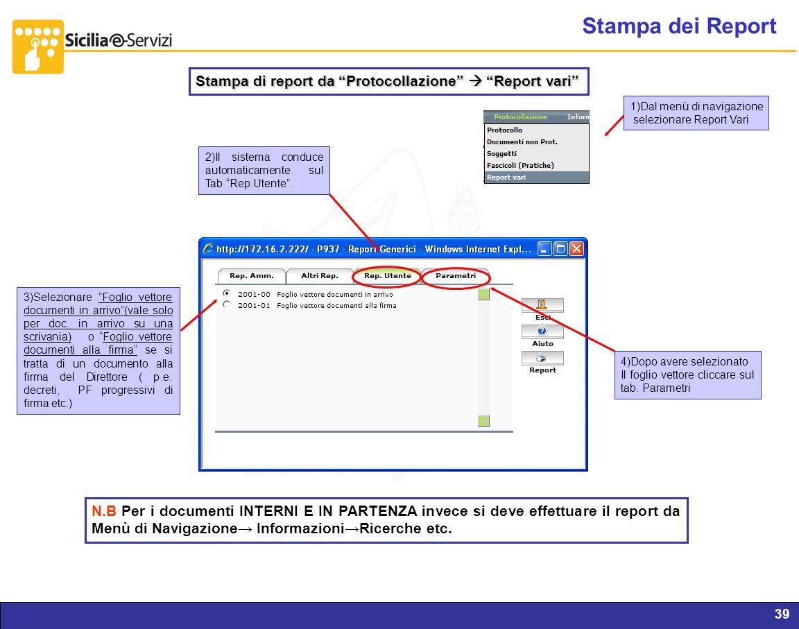 Stampa dei Report Stampa di report da Protocollazione  Report vari 1)Dal menù di navigazione.
