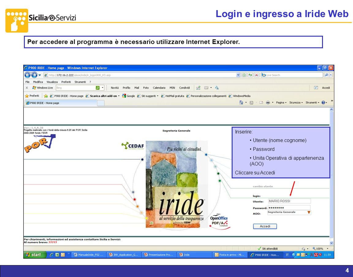 Login e ingresso a Iride Web