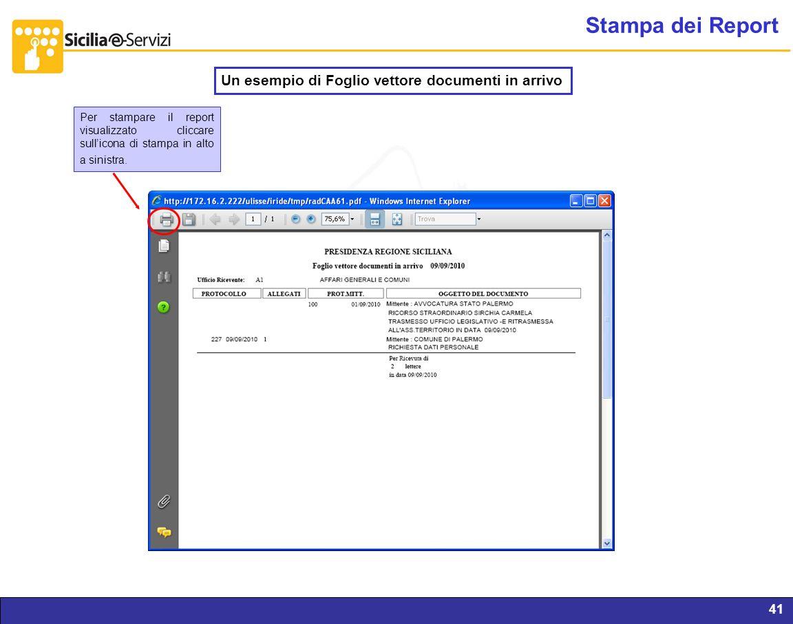 Stampa dei Report Un esempio di Foglio vettore documenti in arrivo