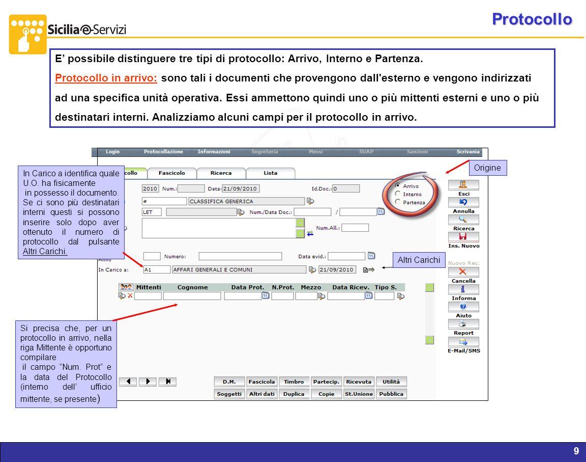 Protocollo E' possibile distinguere tre tipi di protocollo: Arrivo, Interno e Partenza.
