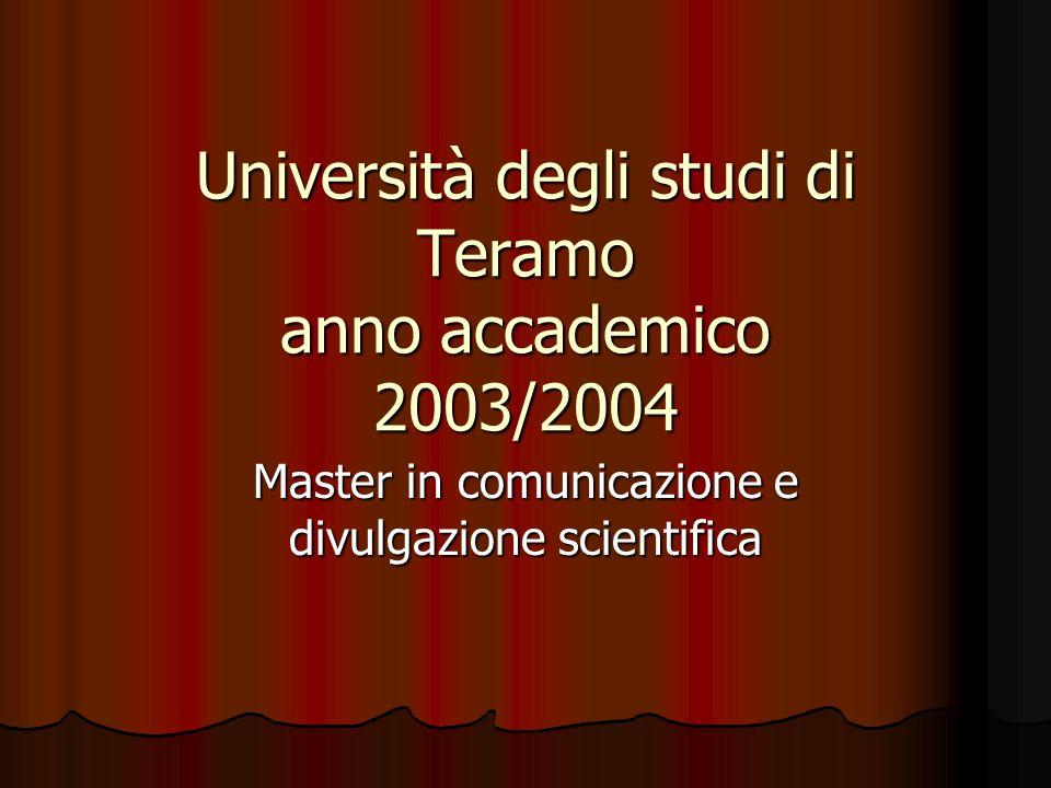 Università degli studi di Teramo anno accademico 2003/2004